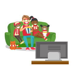 multicultural family watching football match on tv vector image