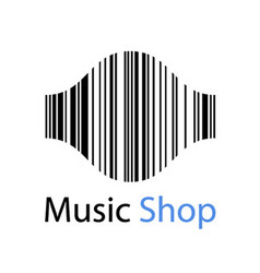 Music shop EAN barcode sound wave symbol vector
