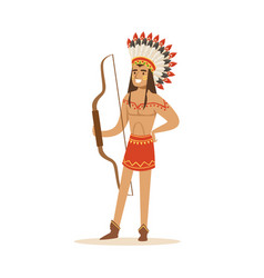 Native american indian in traditional loincloth vector