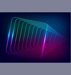 Neon-glowing techno lines hi-tech futuristic vector