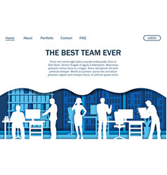 office team website landing page design vector image
