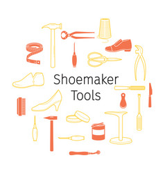Outline icons set of shoes repair tools and shoes vector