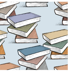 pattern of the textbooks stacks vector image