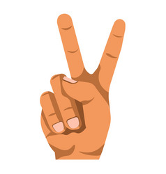 peace or v shape hand gesture flat isolated vector image