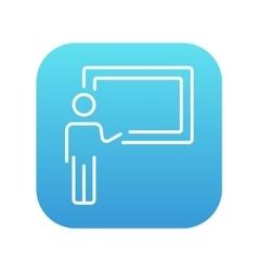 Professor pointing at blackboard line icon vector image vector image