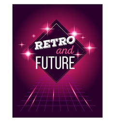 retro disco 80s neon with text retro and vector image