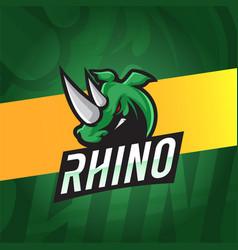 Rhinoceros esport logo with green colors theme vector