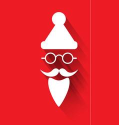santa claus hat eyeglasses and beard vector image