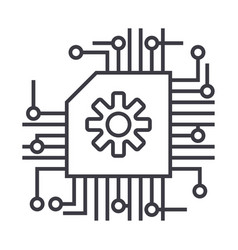 Schemeaiartificial intelligence line icon vector