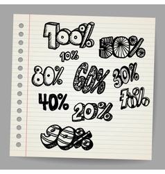 Scribble percents vector image vector image