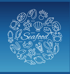 Seafood line banner with fish shrimp oyster vector