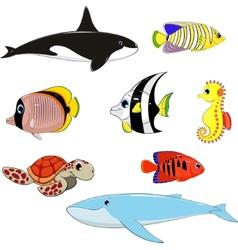 Set marine animals vector