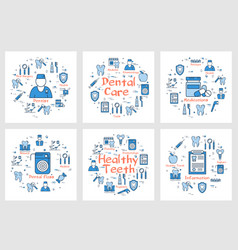 set of banners for dental health concept vector image