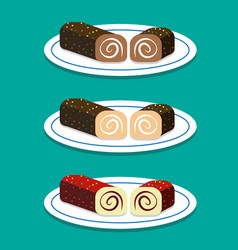 Set of swiss roll on dish in flat style vector