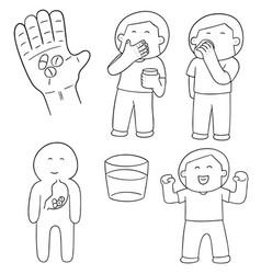 set of taking medicine vector image