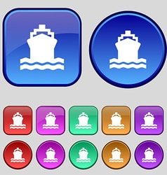 ship icon sign A set of twelve vintage buttons for vector image