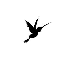 Sign silhouette a hummingbird vector