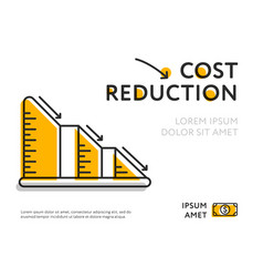 Simple graph with cost reduction chart vector