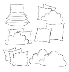 Sketch pillow art pillow isolated white pillow vector