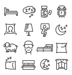 Sleep dream bed linear icons set isolated vector