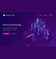 smart city technology with isometric town vector image