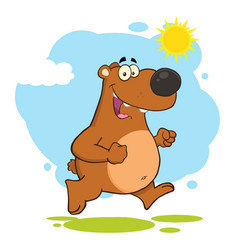 Smiling brown bear cartoon character running vector