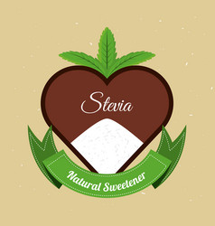 Stevia natural sweetener with leaves label vector