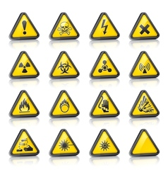 three-dimensional hazard signs vector image
