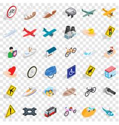 traffic light icons set isometric style vector image