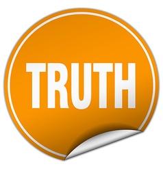 Truth round orange sticker isolated on white vector