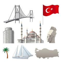 turkish famous landmarks vector image