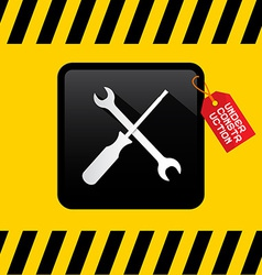 Under Construction Title on Red Label with Spanner vector