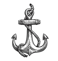 Vintage anchor with rope hand-drawn sketch vector