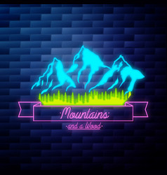 vintage mounitains emblem glowing neon sign vector image