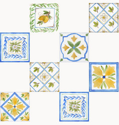 watercolor ornament square pattern vector image