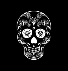 White sugar skull with floral pattern vector