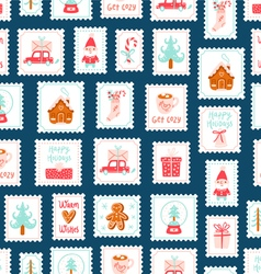 Winter holidays decorative post stamps seamless vector image
