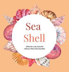 Wreath design with shells frame concept vector