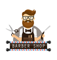 young hipster man barber flat vector image