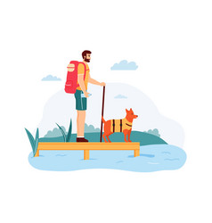young man with dog having summer adventure trip vector image