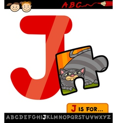 letter j with jigsaw cartoon vector image