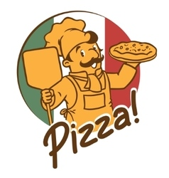 Emblem of funny cook or chef o baker with pizza vector image