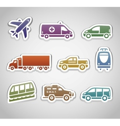 flat retro color stickers - set seven vector image vector image