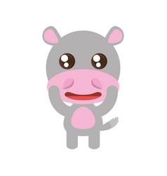 kawaii hippo animal toy vector image vector image