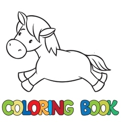 Little horse or pony coloring book vector image