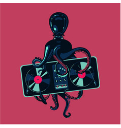 octopus tentacles with vinyl record turntable hip vector image