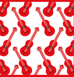 red guitar instrument music acoustic seamless vector image