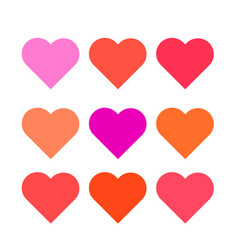set multi colored hearts of the correct form vector image