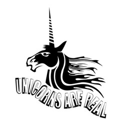 silhouette of magic cute unicorn and lettering vector image vector image