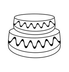 wedding cake dessert outline vector image